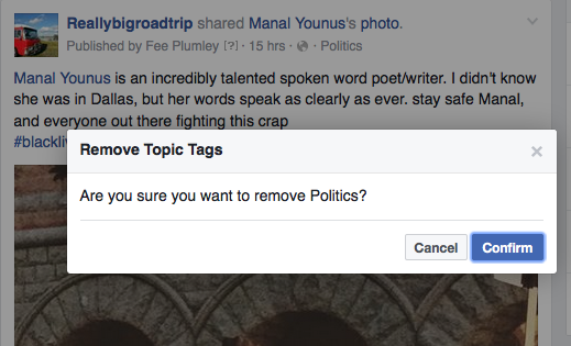 "screengrab from facebook asking ""Are you sure you want to remove Politics?"""