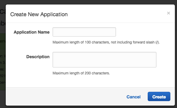 Create New Application dialog.