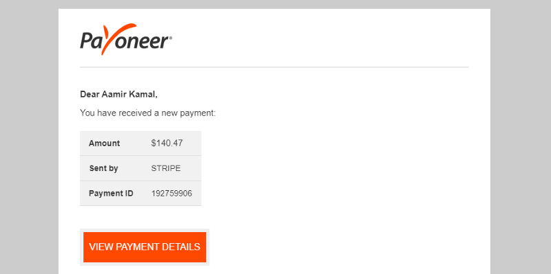 A Payment proof where Payoneer has to send me an email informing me about getting paid from Stripe