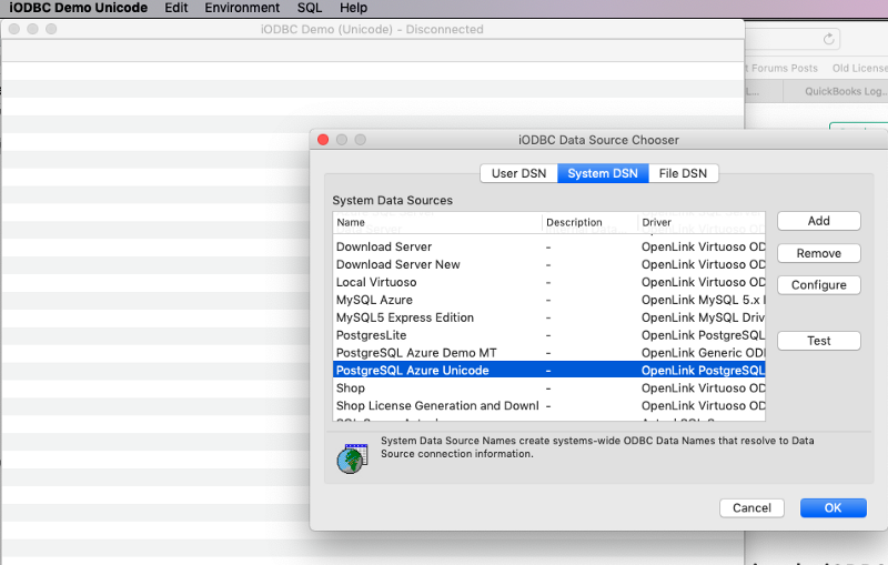 HowTo: Making an ODBC Connection from macOS to PostgreSQL on