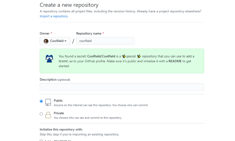 Screenshot of GitHub 'new repository' page, showing special message when creating a personal readme.