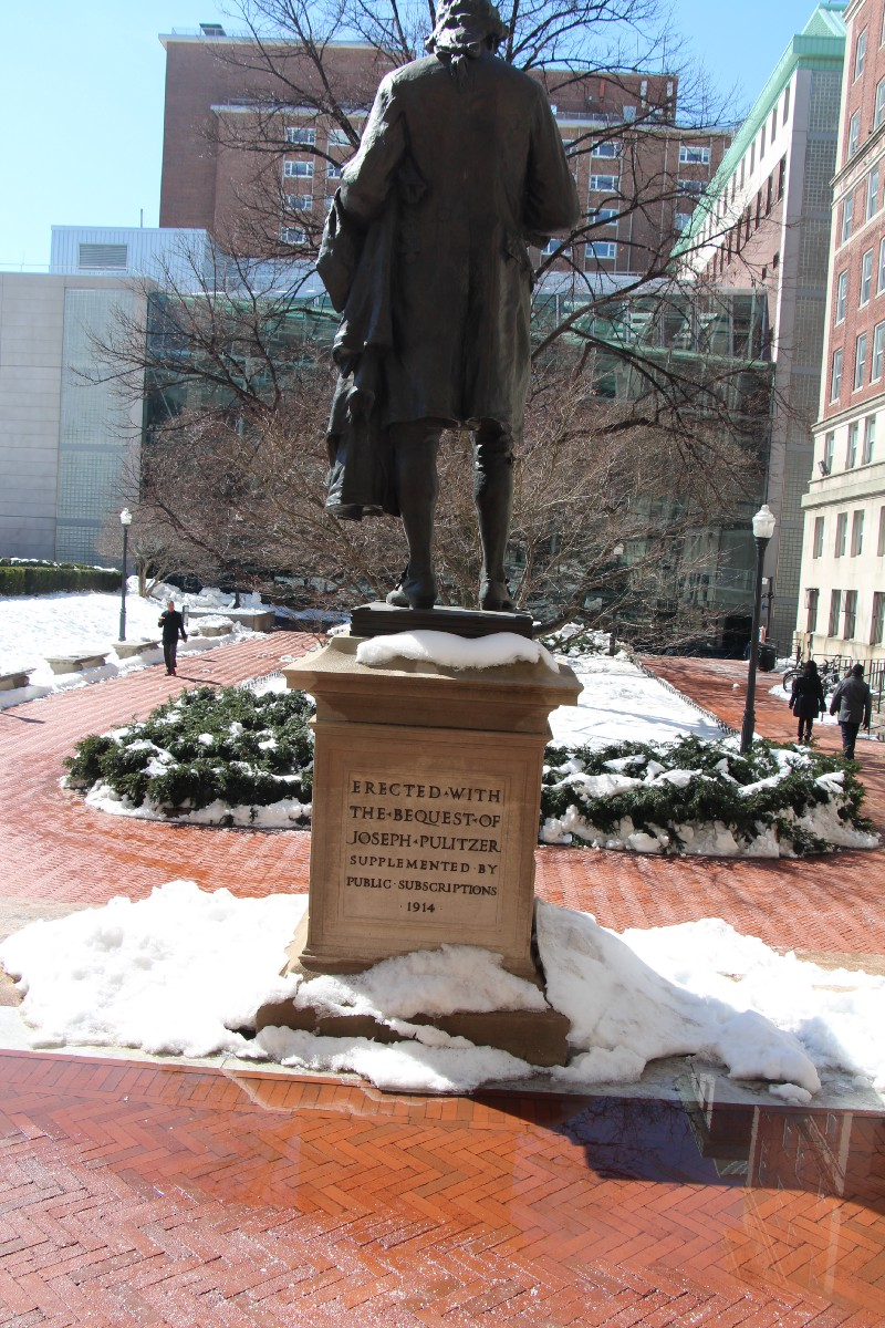 Joseph Pulitzer statue outdoors, Columbia University.