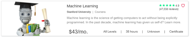 Machine Learning by Coursera