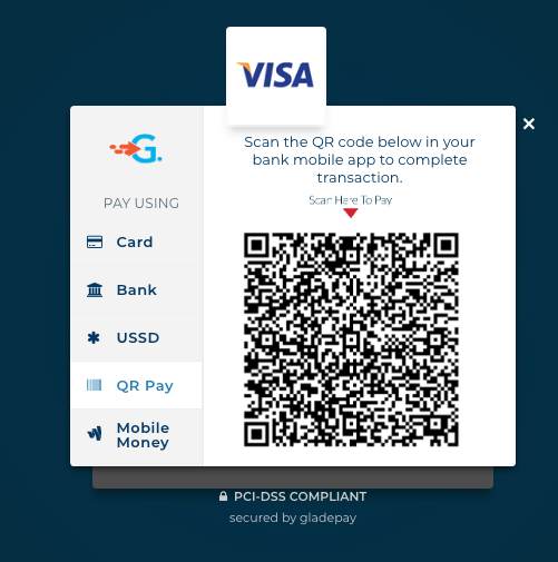 Gladepay's Checkout page [QR Pay Section]