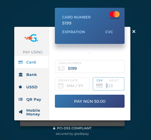 Gladepay's Checkout Page