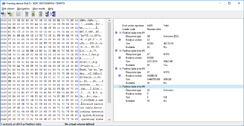 On the left is what the MBR actually looks like. On the right is how the raw data is interpreted as a disk structure