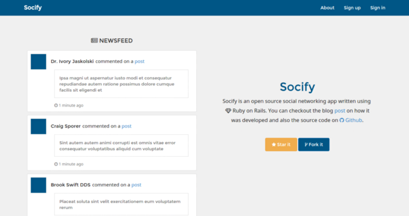Socify Landing page.