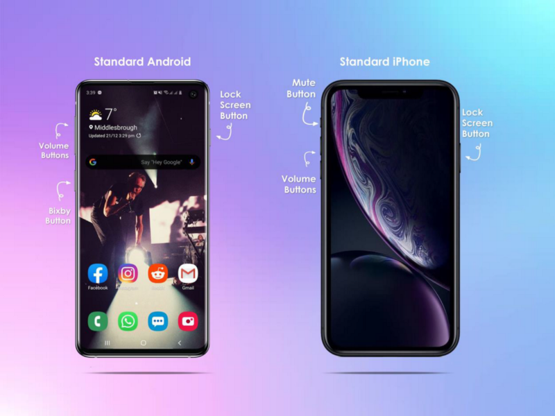 A comparison of the hardware anatomy and button placement of an iPhone and Samsung
