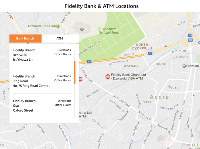 fidelity bank ghana locations