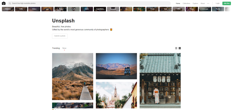 Unsplash for Background Images