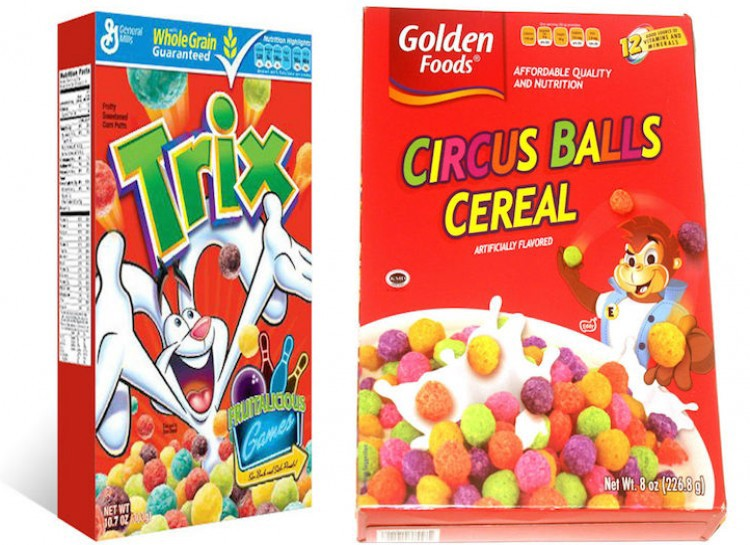 ... FRUITY WHEELS, CONFRUITY CRISP, PRANKS (an imitation of Trix, get it), DONUTZ, CIRCUS BALLS CEREAL, KIDDO BALLS, BUNCH O' CINNAMON SQUARES, ...