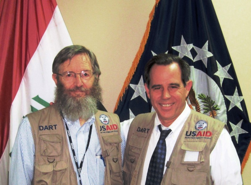 Iraq DART Team Leader Ron Mortensen (left) stands with U.S. Ambassador to Iraq Stuart Jones (right). Photo courtesy: Ron Mortensen