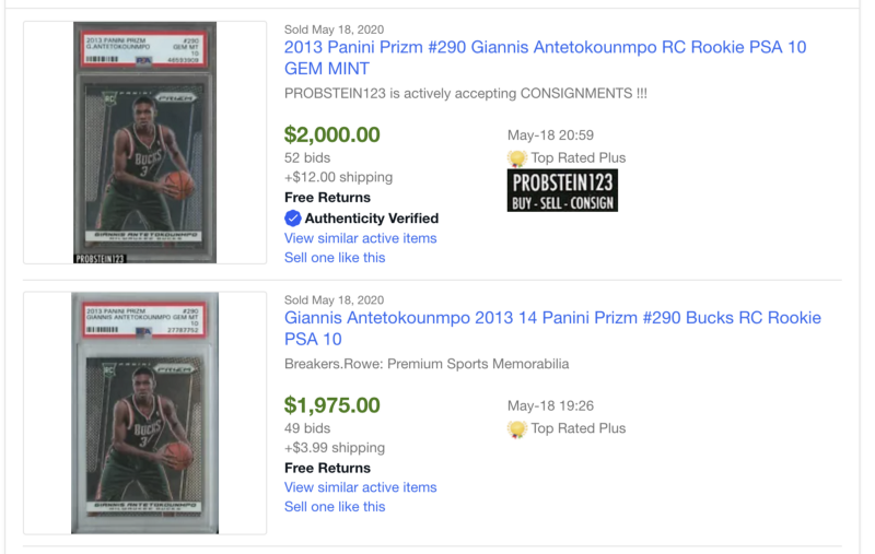 The best side hustle ideas - eBay sold listings for a Giannis rookie card.