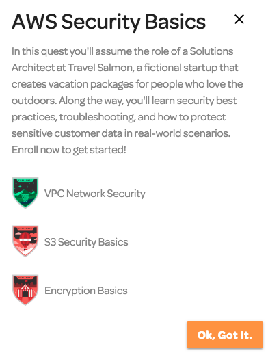 AWS Security Basics quest on Cloud Assessments