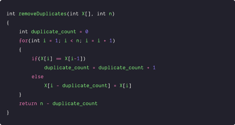 remove duplicates from sortedarray by counting the duplicates pseudocode