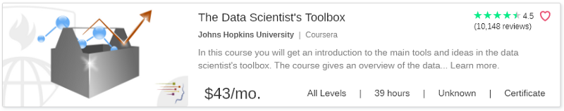 The Data Scientist's Toolbox by Coursera