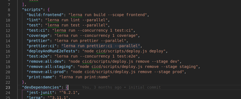 An image of the pacakge.json at the root of the project where each service has is own build scripts