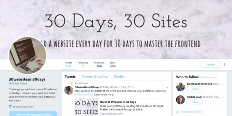 30Days30Sites Twitter Page