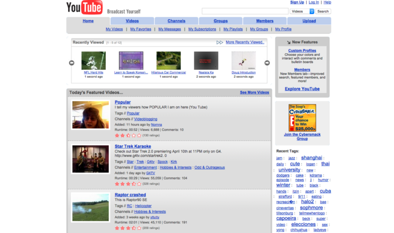 Homepage do youtube em 2006
