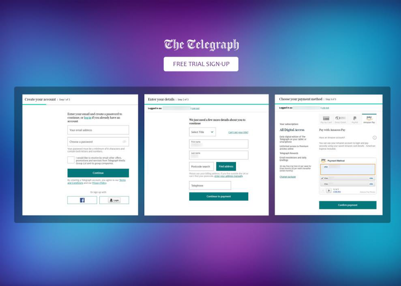 3 screenshots of The Telegraph showing the payment process to sign up