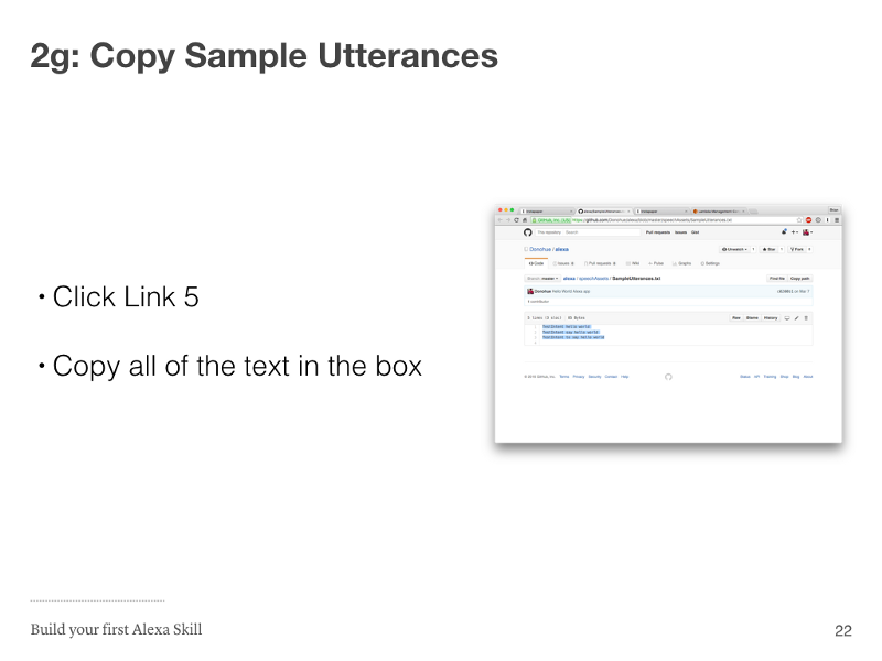 Step 2g: Copy Sample Utterances
