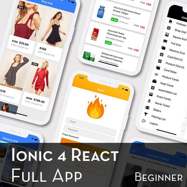 Ionic 4 React Full App with huge number of layouts and features