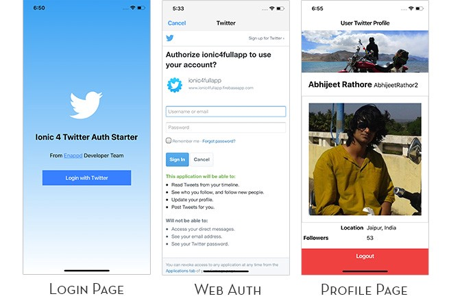Twitter login in Ionic 4 apps using Firebase 🔥