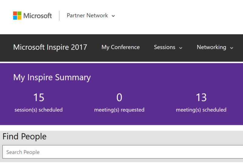 Microsoft MyInspire Attendee Directory & Connect Meetings Scheduler