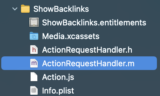 Action Extension Objective-C Code
