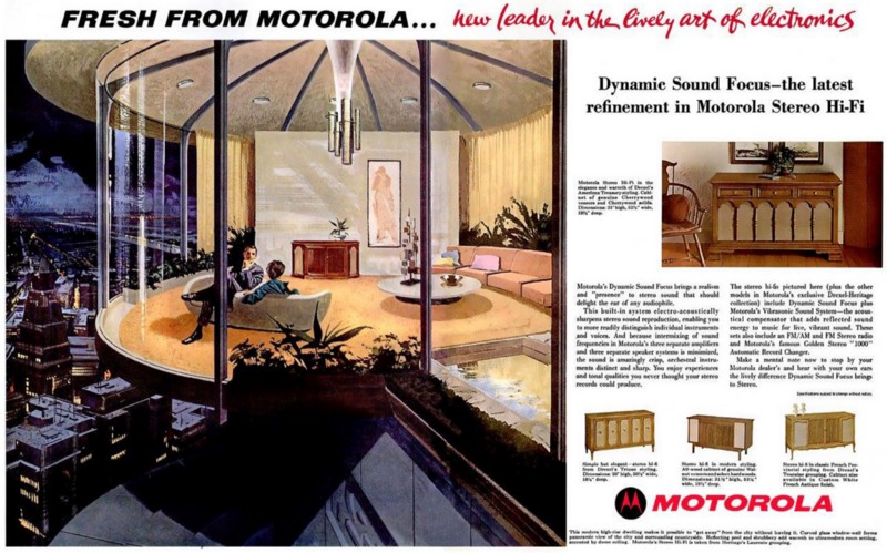 """Fresh from Motorola…new leader in the lively art of electronics."" Charles Schridde for Motorola, 1961."