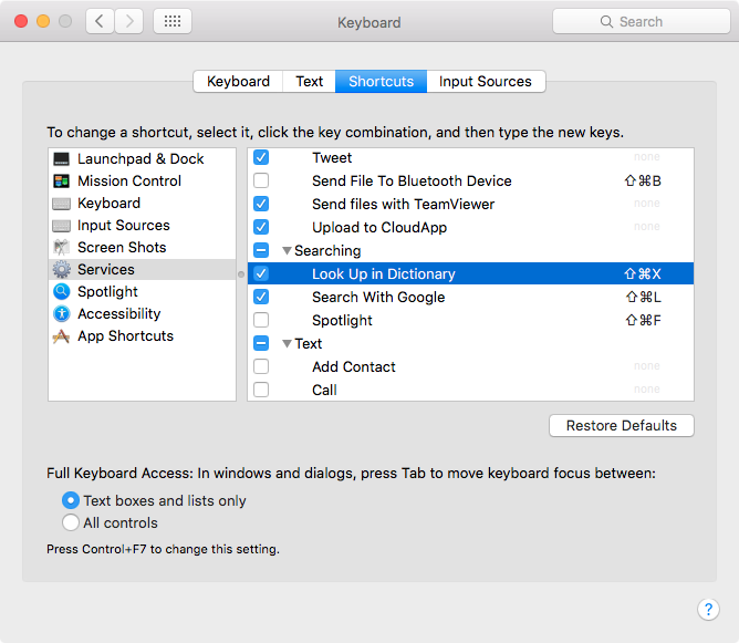 How to quickly look up a word in dictionary (Mac OS X)