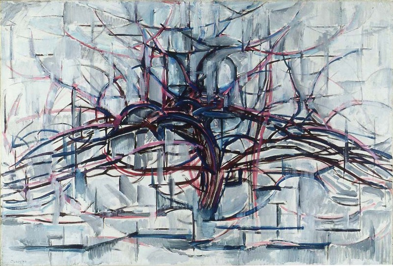 Horizontal Tree. 1911. huile sur toile. 75,9 × 112,2 cm. Utica, New York, Munson-Williams-Proctor Arts Institute. Piet Mondrian — Domaine public