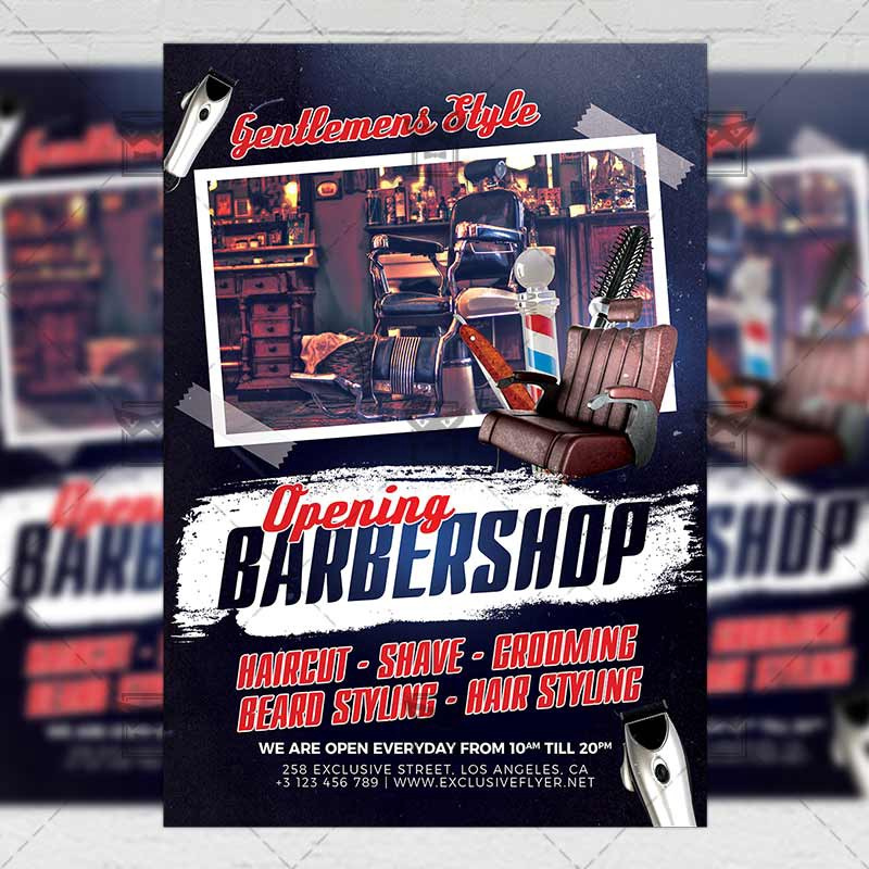 barber shop opening business a5 flyer template exclusive flyer