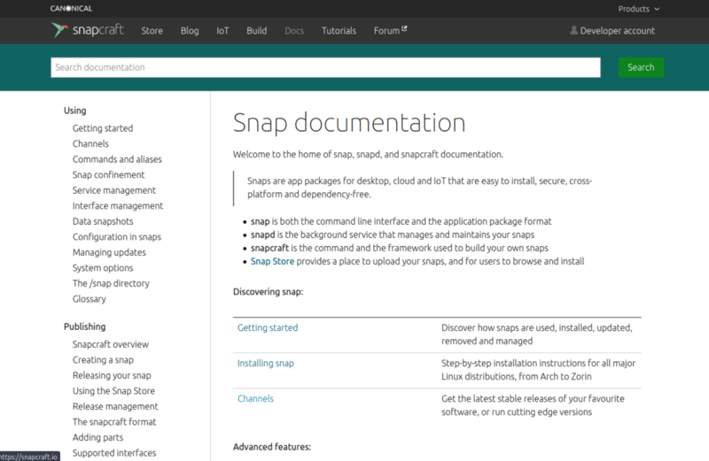 The documentation page for the Snapcraft project. (Credit: snapcraft.io)