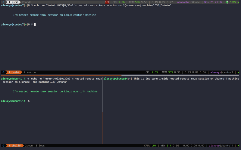 Tmux in practice: local and nested remote tmux sessions