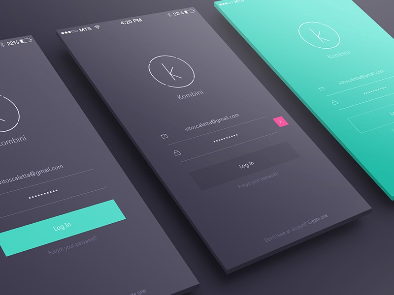 Login sign up inspiration for mobile apps muzli design