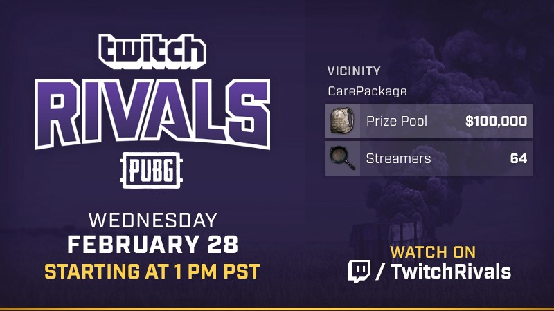 Twitch rivals presents pubg invitational twitch blog on wednesday february 28th at 1pm pt we have another playerunknowns battlegrounds tournament coming your way with 100000 up for grabs brought to you by stopboris Choice Image