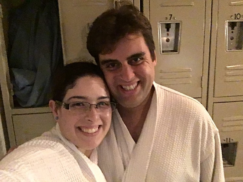 Robes, E. L. Lane, E. L. Lane and husband, husband, spa, E. L. Lane and husband in robes, getaway, groupon, leisure, travel, travel and leisure