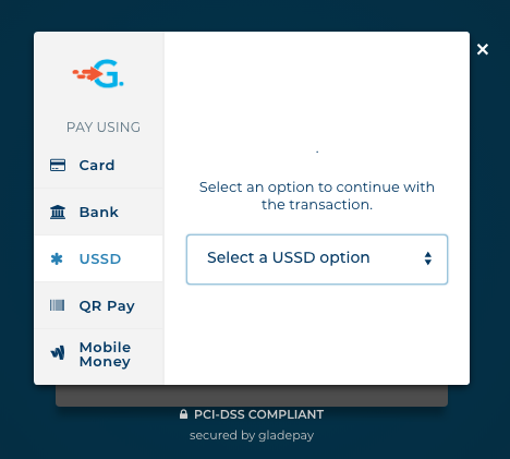 Gladepay's Checkout Page [USSD Section]
