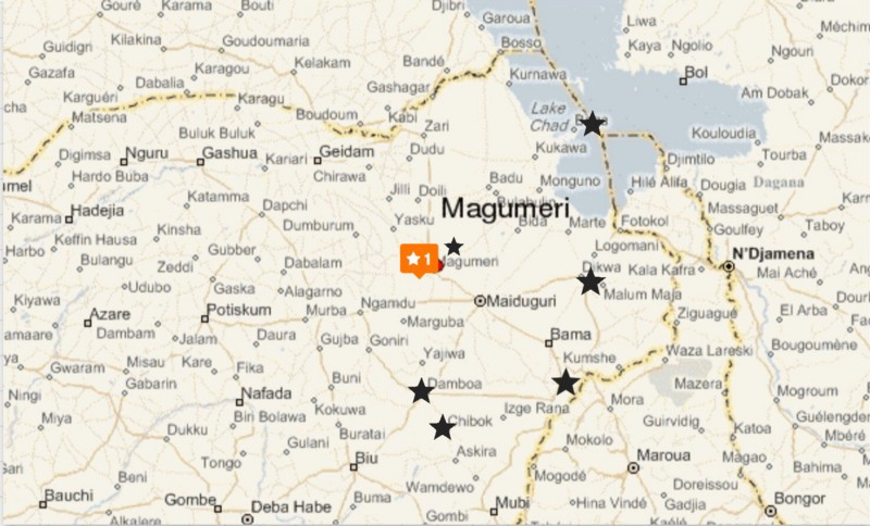 North Eastern Nigeria: Magumeri at centre, the site of the latest attack, black stars on the routes to Maiduguri where there have been other attacks; & a star at the very bottom at Chibok, where Boko Haram abducted 276 girls, almost three years ago.