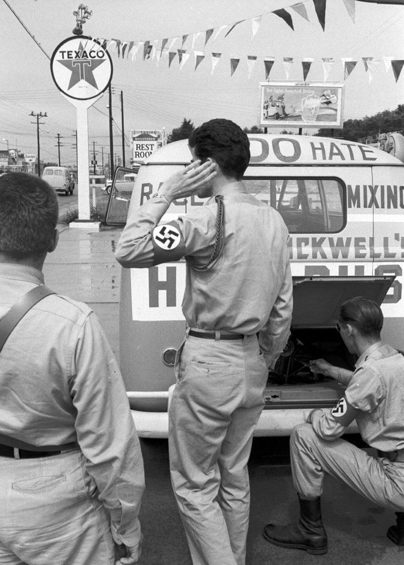 Photos of American Nazis driving a 'hate bus' through the Deep South, following Freedom Riders