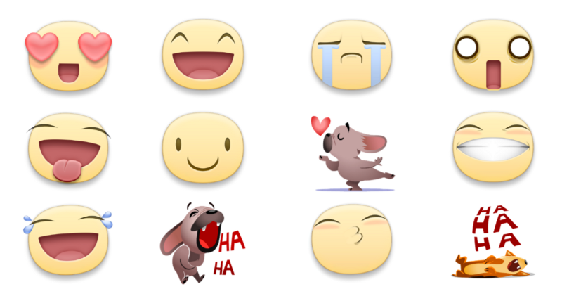 stickers facebook reactions