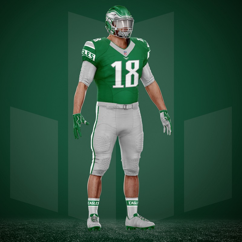 819b8d557c8 Philadelphia Eagles Home and Away Color Combos and Shoulder Detail