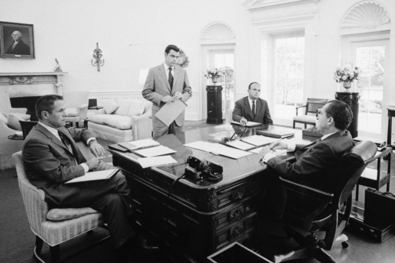 President Nixon in the Oval Office with chief advisors H.R. Haldeman and John D. Ehrlichman