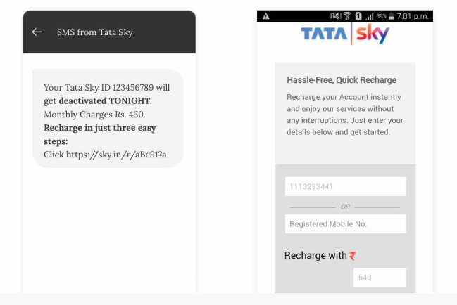 Example of good UX, user design experience , TATA Sky SMS — Recharge Reminder