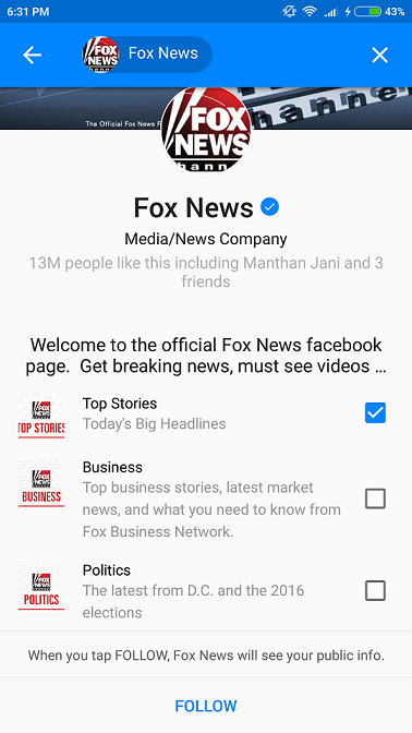 Fox News Chatbot on Messenger