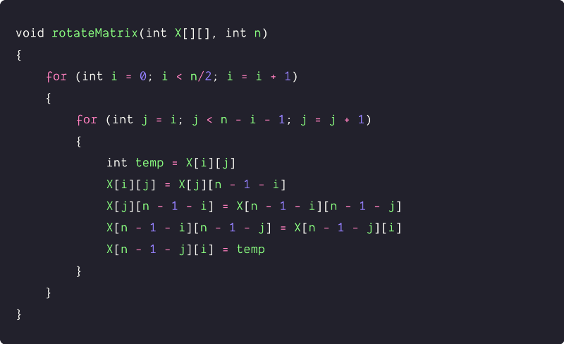 rotate a matrix by 90 degrees In-place solution using nested loops pseudocode