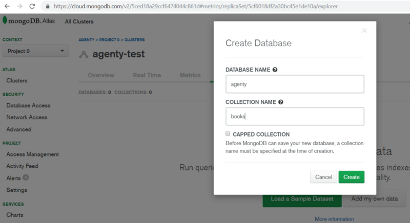 Create collection in MongoDb