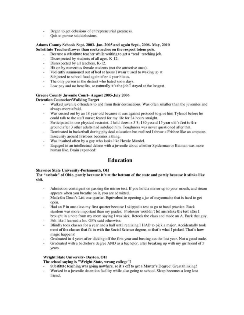 this is what a resume looks like when you cut out the bullshit my success rate this particular resume 0%