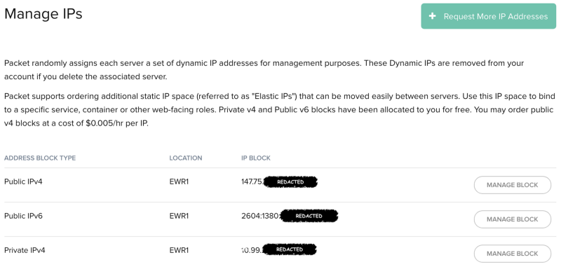 Once granted, you should see a new Public IPv4 address block available in your project IP settings.